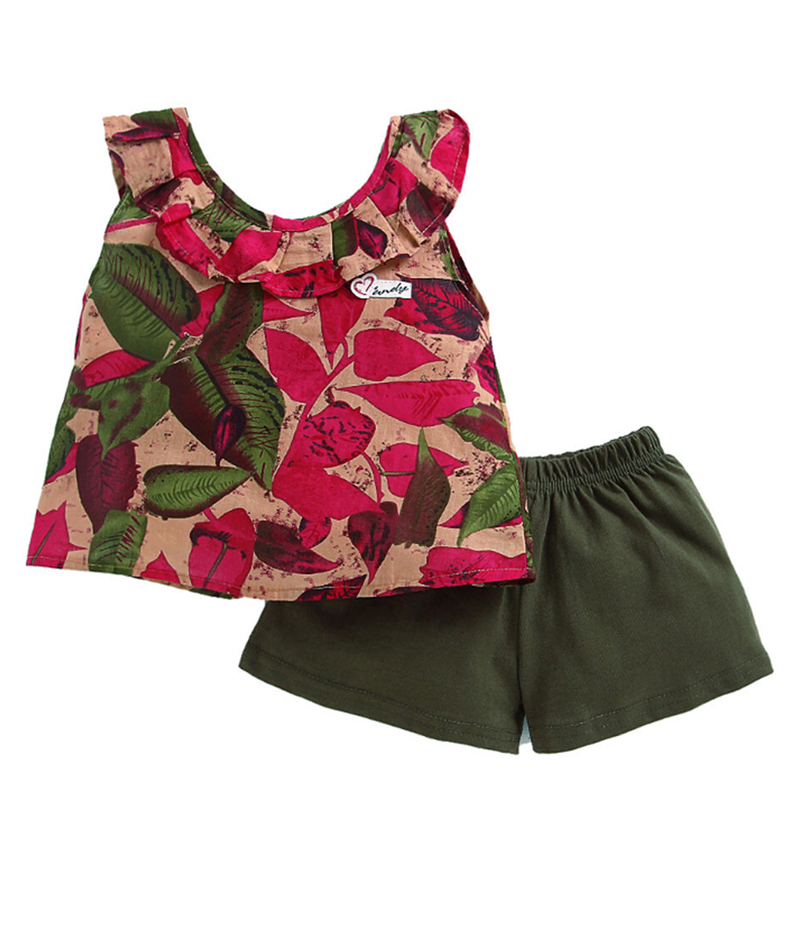 mandy-dresses-pink-leaves-frill-top-with-green-shorts-ac-990-2