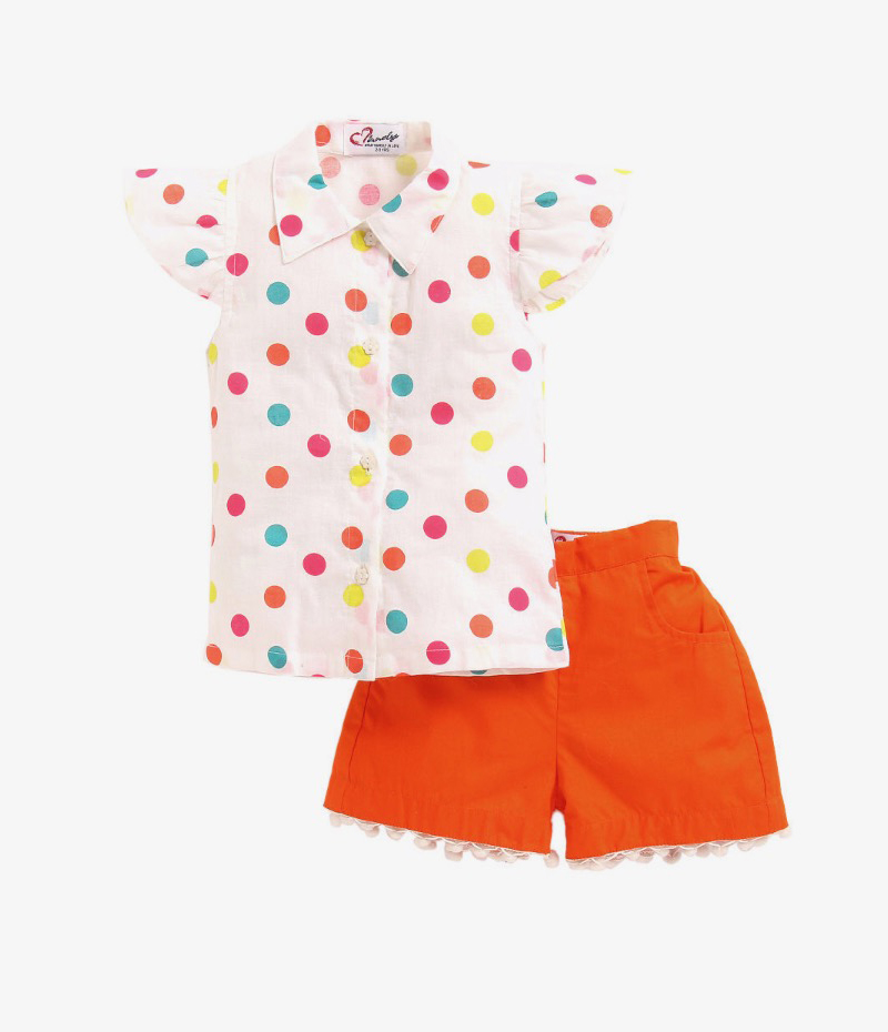 mandy-dresses-polka-dot-shirt-with-orange-pom-pom-shorts-ac-941-1