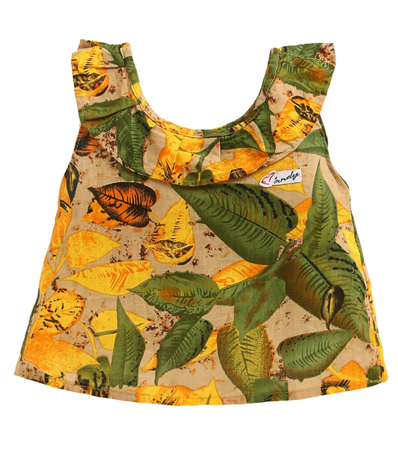 mandy-dresses-yellow-leaves-frill-top-with-green-shorts-ac-988-1