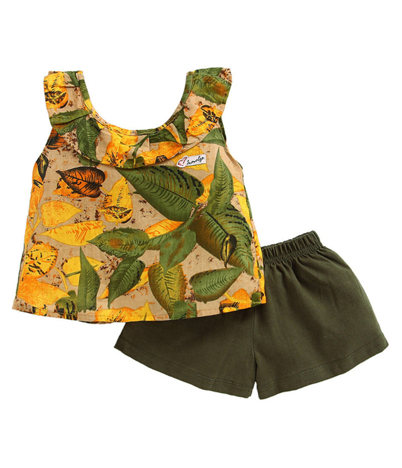 mandy-dresses-yellow-leaves-frill-top-with-green-shorts-ac-988-2