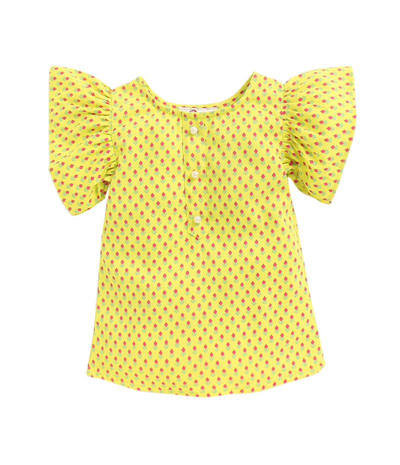 mandy-dresses-yellow-pearl-top-with-majenta-shorts-ac-943-2
