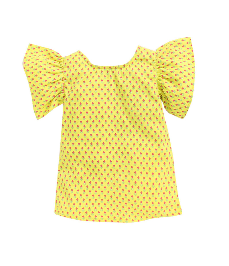 mandy-dresses-yellow-pearl-top-with-majenta-shorts-ac-943-3